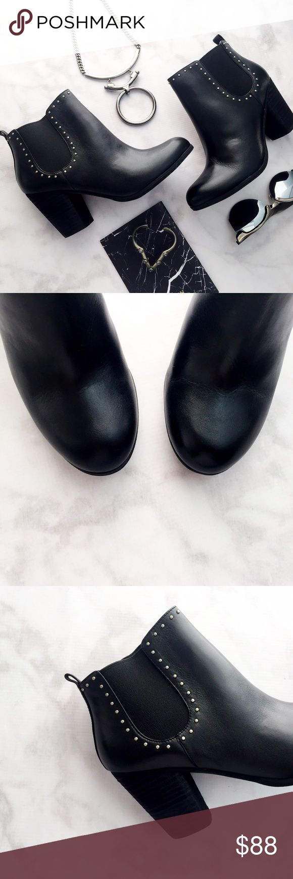 """Black Leather Studded Ankle Boots Details: * Size 7.5 * Pull on style * Leather with silver stud details * 3"""" heel * Brand new in box 11221601 bp Shoes Ankle Boots & Booties"""