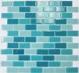 Blue/green rectangle shower tile idea