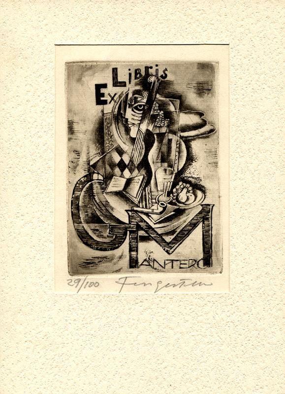 """Ex Libris G. Mantero"""", O-Radierung, ca. 11,3 x 8,5 cm auf Büttenpapier 19,5 x 13,5 cm, in doppels. DINA5-Passepartout am linken Seitenrand einmontiert, unter dem Druck handschriftl. vom Künstler """"29/100 Fingesten"""" von Fingesten, Michel (geb. 1884 in Buckovice/heute Tschechien, gest. 1943 in Cerisano/Kalabrien. Graphiker): 0 - Signum Antiquariat"""