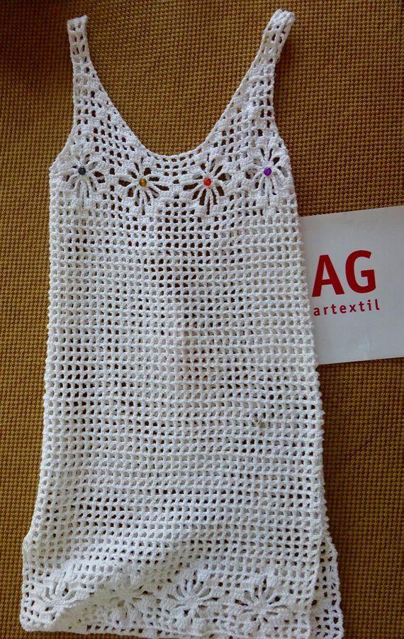 c0548070ba Artículos similares a Botonetas, vestido, playa, verano, tejido a crochet  en Etsy