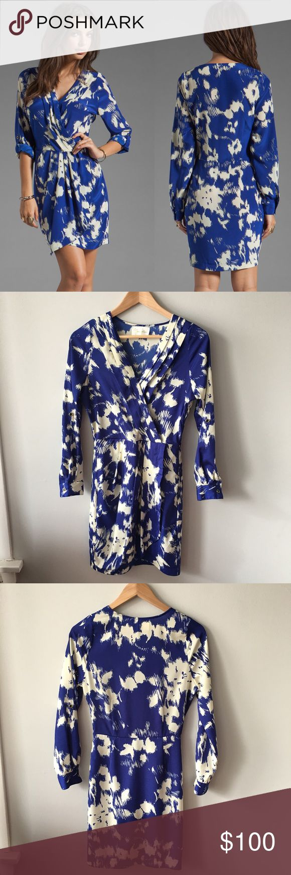 """Yumi Kim Alexis Dress Silk pleated wrap front dress in Navy Splash print from Yumi Kim.  ·       Roll tabbed sleeves – can wear sleeves rolled up or all the way down ·       100% silk ·       Approx. 34"""" long ·       Unlined ·       Dry clean Worn once and dry cleaned. No stains, holes, pulls, snags or pilling – excellent condition! Bundle & save 💰! Sorry - 🚫 trades! Yumi Kim Dresses"""