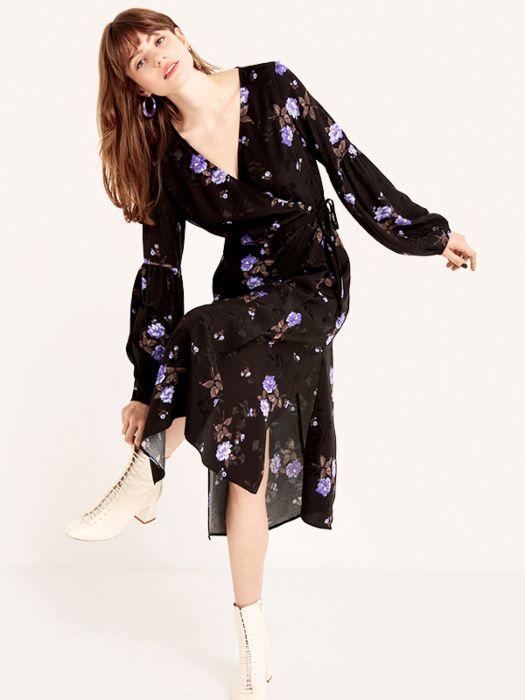 24743cb2accf Black Lolita Bloom Tie Sleeve Detail Midi Wrap Dress in 2019 | (D ...