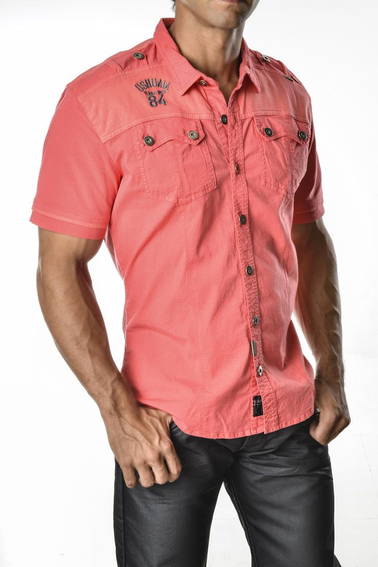 Camisa color coral sexy yet casual mens fashion sexy for Coral shirts for guys
