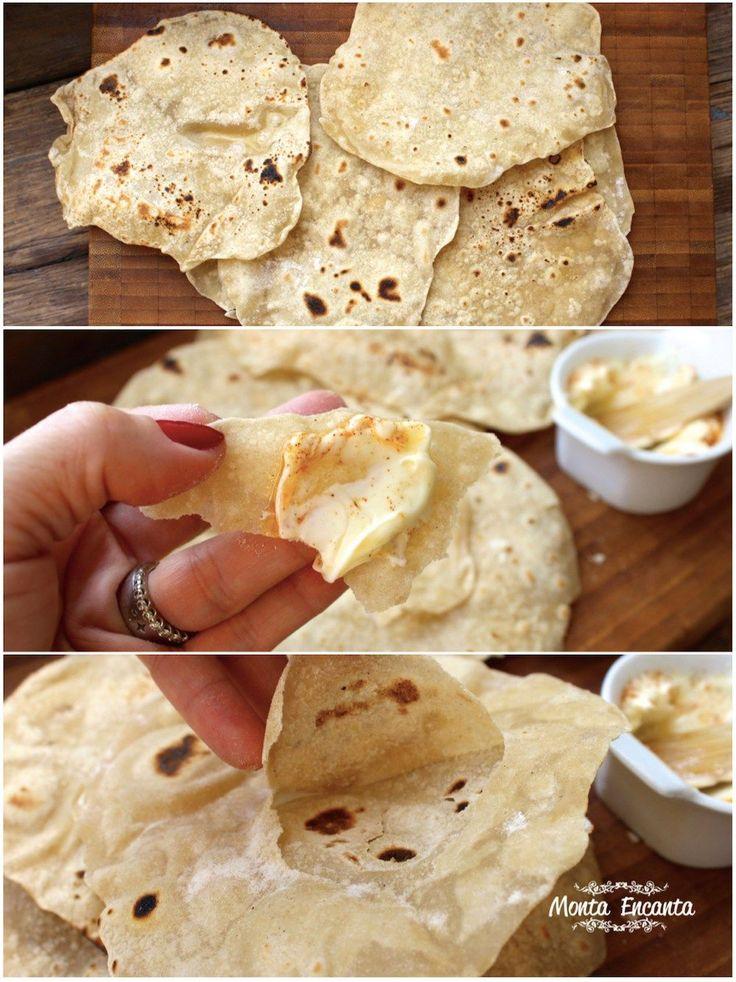 Chapati pão indiano sem fermentação. Ele lembra o pão pita, pão árabe, só que mais fininho, ainda mais leve e muito gostoso.