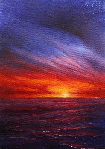 Seascape & Sunset Paintings by Stella Dunkley: Original sunset painting affordable contemporary seascape art