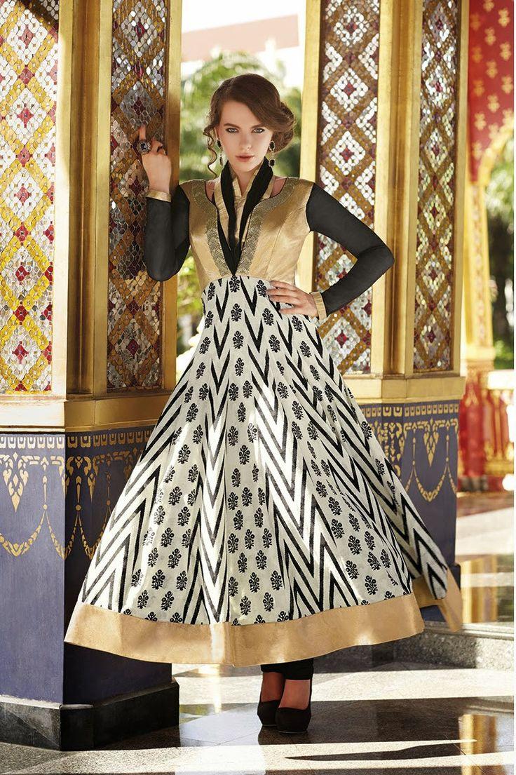 Golden Black Chiffon Georgette Designer Anarkali Suit