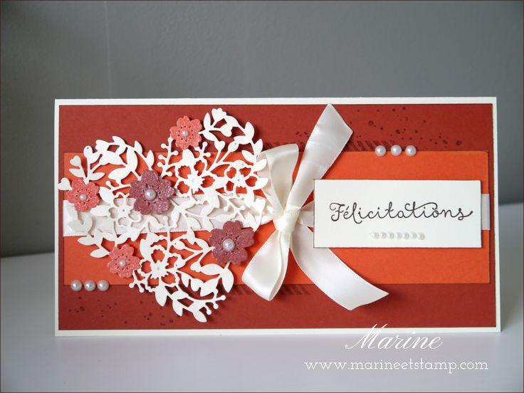 Au mois de janvier dernier, ma copine Claire a dit OUI à son chéri Nicolas. J'ai donc réalisé une petite carte de félicitations en reprenant les couleurs de leur mariage : ocre roussillon et tango mandarine :)          Mon petit