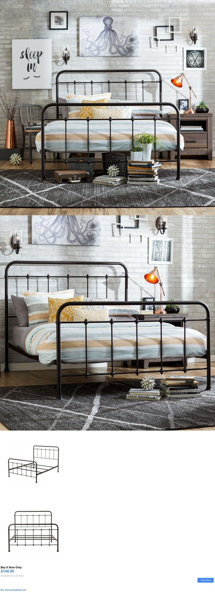 Bedding: Queen Size Bed Frame Metal Headboard Footboard Adjustable Height Antique Rustic BUY IT NOW ONLY: $149.99 #priceabateBedding OR #priceabate