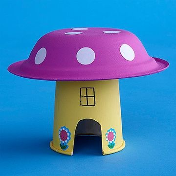 Your child will love building an imaginative new home for her toy figurines out of a paper cup and a paper bowl. Make it: Flip a colorful paper cup upside-down and cut out a small door. Draw windows and flowers, or let your child decorate the cup with stickers. Next, have her paint the underside of a paper bowl. Once the paint has dried, help her add white dot stickers to make it look like a mushroom. Tape the bottom of the cup inside the paper bowl and your child will be rea...