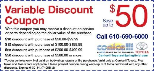 Conicelli Toyota of Springfield Variable Discount Coupon