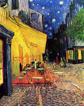 """Cafe Terrace"", a famous artwork painted by Vincent Van Gogh. The colors of the sky resemble the painting ""Starry Night"" while the rest of the painting shows the characteristics of the rest of Van Gogh's paintings, with their vivid colors and small details."