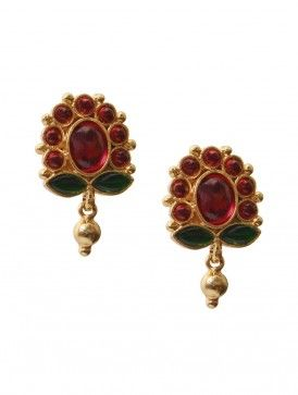 Ruby-Onyx Blossom Earrings