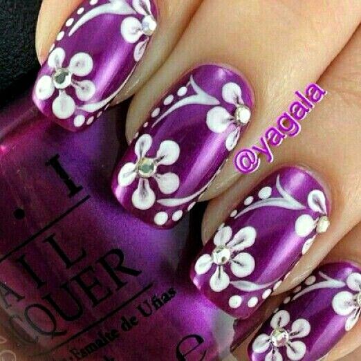Purple with White Flowers ❤