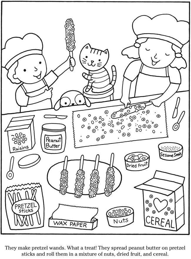 Colouring-in page - sample page from 'Color & Cook Story Coloring Book' via Dover Publications ~s~