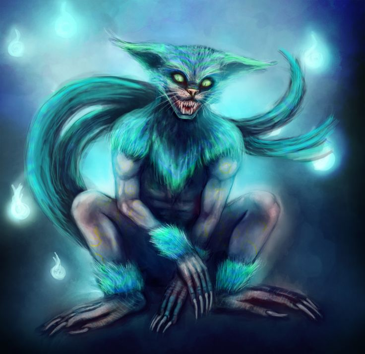 Nekomata (Japanese) - Strange shapeshifters that take the forms of cute little kittens to lure prey into a false sense of safety so they can be transported by their prey into towns unnoticed. Their true form is that of a huge cat/baboon/lizard like horror. They are also close related with Djinns, they can forfill desires, but at the cost of your soul.