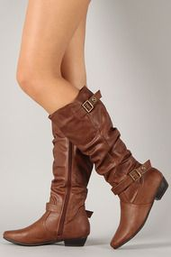Firenze-12 Buckle Slouchy Round Toe Knee High Boot