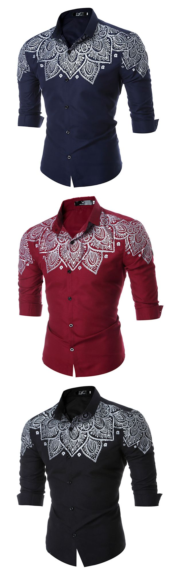 Casual Slim Fit Printing Shirt for Men: Long Sleeve / Turn Down Cololar Dress