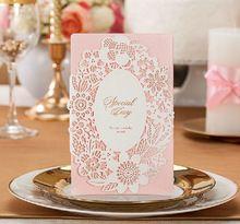 Розовый свадебные приглашения кружева элегантной роскоши лазерной резки бумаги карты цветок цветочные романтические Inviting карты свадебные приглашения(China (Mainland))