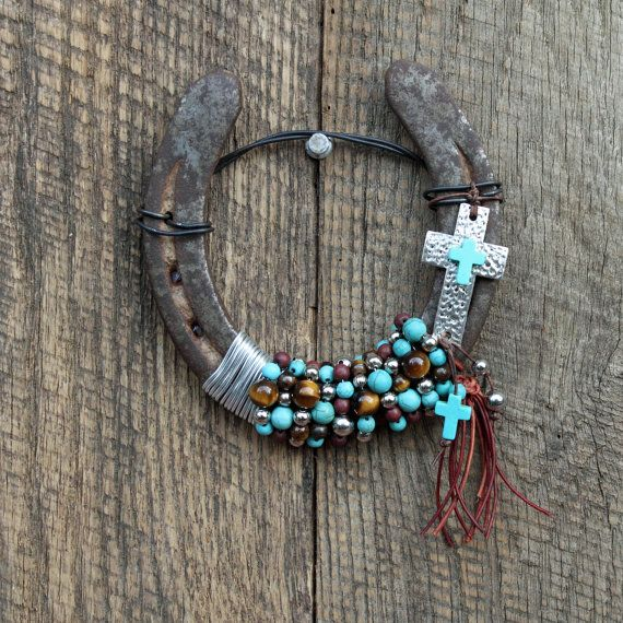 Cross Beaded Horseshoe by WhiteFeatherJewelry on Etsy, $38.00