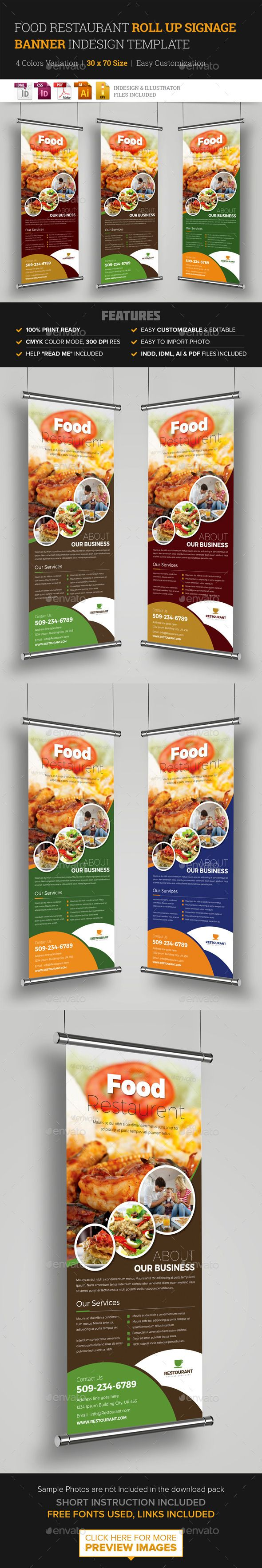 Food Restaurant Roll Up Banner Signage Template #design Download…