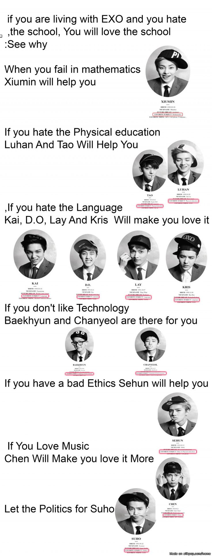 School with EXO.. I took all the subject they've learned.. nearly subs~ Top subject is about NATURE~ EXO is Science to me~