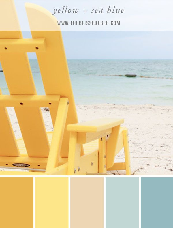 Take your color inspiration from the beach this Summer! Color Stories – Yellow + Sea Blue (image via The Blissful Bee blog)