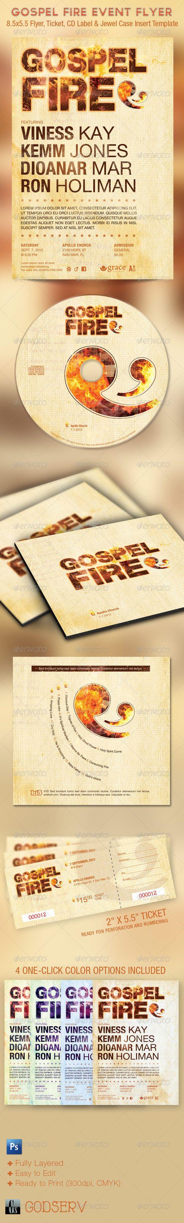 Gospel Fire Church Flyer, Ticket and CD Template
