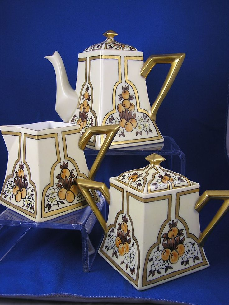 "Bernardaud & Co. (B) Limoges Citrus Motif Art Deco Tea Set (Signed ""MEB""/Dated 1914)"
