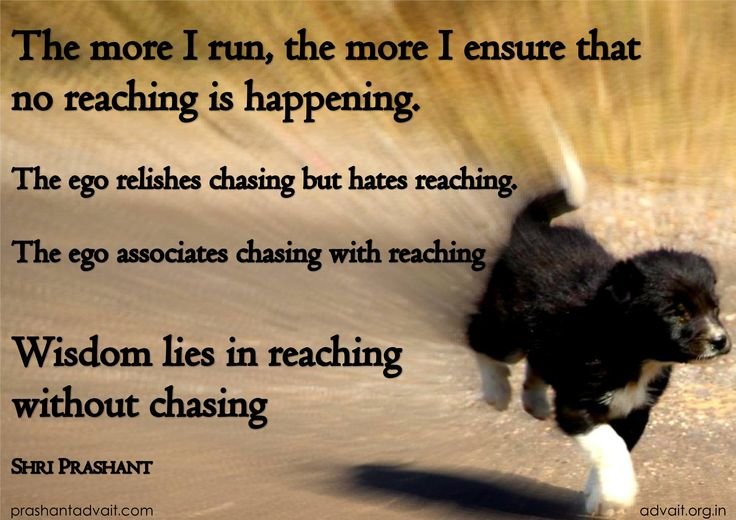 """The more I run, the more I ensure that  no reaching is happening.   The ego relishes chasing but hates reaching.   The ego associates chasing with reaching  Wisdom lies in reaching without chasing""  ~ Shri Prashant  #ShriPrashant #chasing #reaching #ambition  #goal #ego #awareness  Read at:- prashantadvait.com Watch at:- youtube.com/c/ShriPrashant Twitter:- @Prashant_Advait Website:- www.advait.org.in"