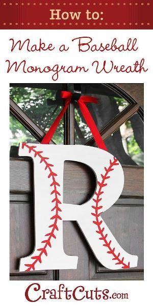 How to Make a Baseball Monogram Wreath-como decorar una letra como pelota de beisbol. by magdalena