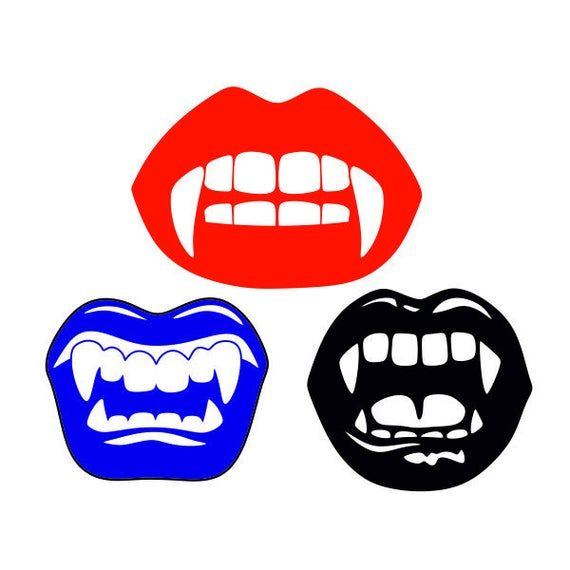 Vampire Lips Teeth Fangs Halloween Cuttable Svg Png Dxf Eps Designs Cameo File Silhouette Vampire Lips Vampire Cricut Halloween