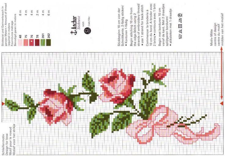 grafico-de-rosas-ponto-cruz-para-toalhas - Ponto Cruz