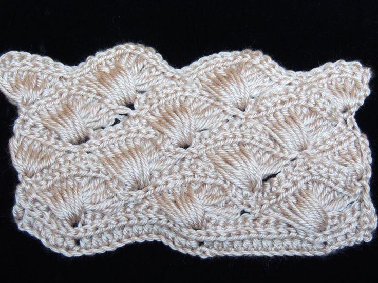 Bellisimo punto en crochet : Abanico Cruzado.  Parte 1 de 2