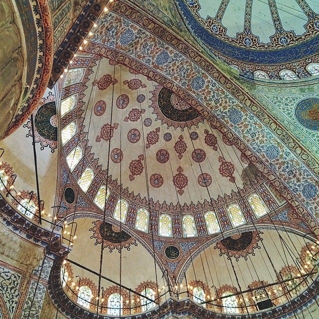 Looking up at the intricate designs in the Blue Mosque in #Istanbul. Photo courtesy of cucinadigitale on Instagram