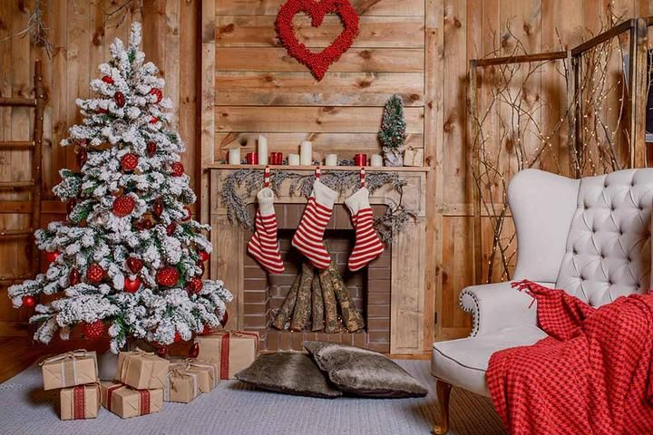 Christmas Socks Hang On Fireplace Christmas In Wood Room Backdrop For Photography Christmas Photography Backdrops Christmas Photography Christmas Fireplace