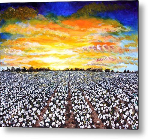 Sunset Metal Print featuring the painting Mississippi Delta Cotton Field Sunset by Karl Wagner