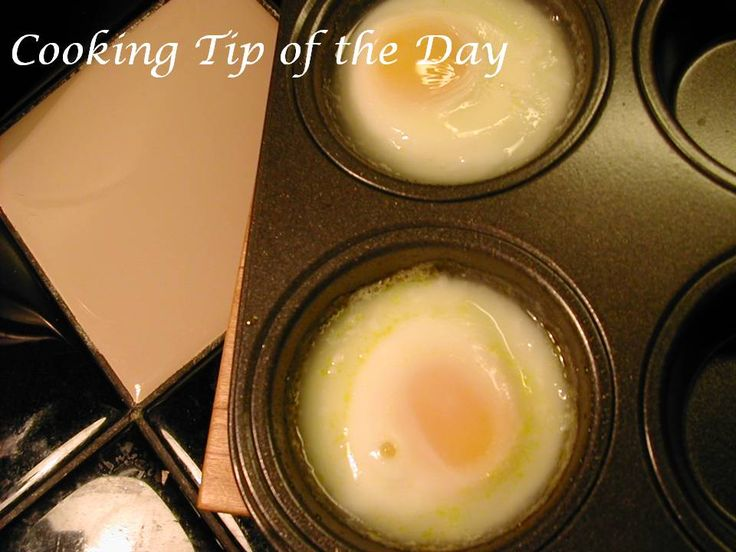 Cooking Tip of the Day: How to Make Poached Eggs in the Oven.  I found 14min to be perfect for eggs benny.  depending on oven.