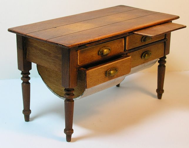Miniature Country Dough Table, Circa 1820 1910, Shaker Works West, Ken Byers