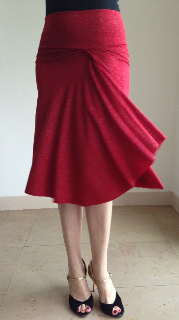 Beautiful BellaPivot Tango red&sparkles skirt  by BellaTango