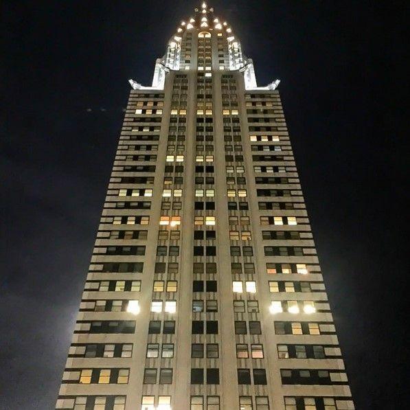 A beacon of light on a hazy New York City night at Grand Hyatt New York.