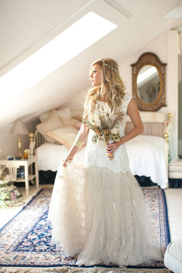 Free People wedding gown, photo by Joleen Willis http://ruffledblog.com/handcrafted-sonora-wedding #weddingdress #freepeople #bridal