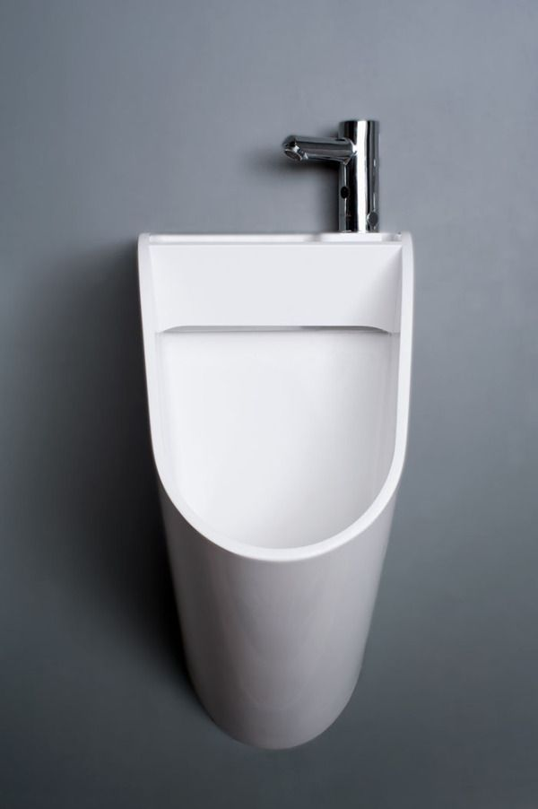 This New Design For The Men's Room Urinal Has An Attached Tap - DesignTAXI.com