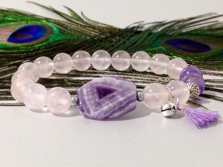 Pulsera de Cuarzo Rosa y Amatista,piedras semipreciosas,pulseras de piedras,joyas de cuarzo,piedras,cuarzos,regalo para mujer,regalos de DeMaiCreaciones en Etsy