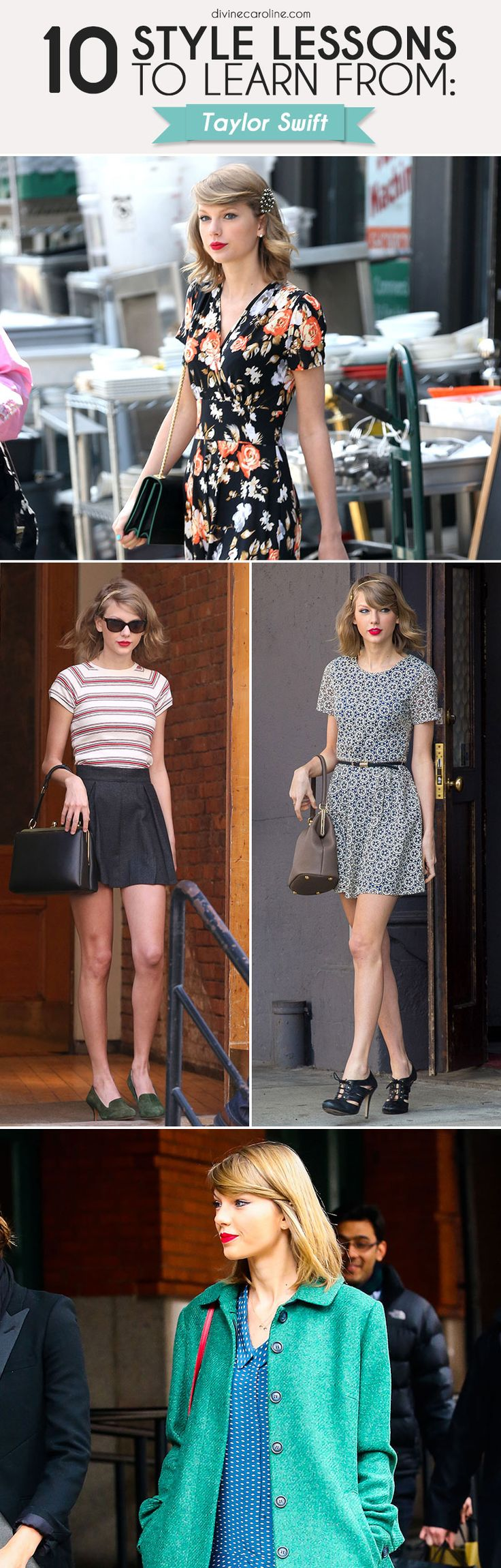 Taylor Swift's style goes from girly to glam, and she nails it every time. See what T-Swift can teach us about style here! #TaylorSwift #styleguide