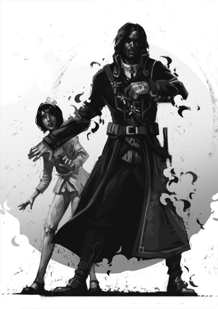 Corvo Attano protecting princess Emily.