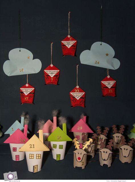 Adventskalender selber machen: basteln mit Klorollen - Weihnachtsmann, Haus, Tannenbaum, Rentier und Wolken