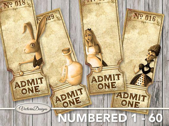 Alice in Wonderland Printable Tickets 1 - 60 raffle tickets - printable ticket paper
