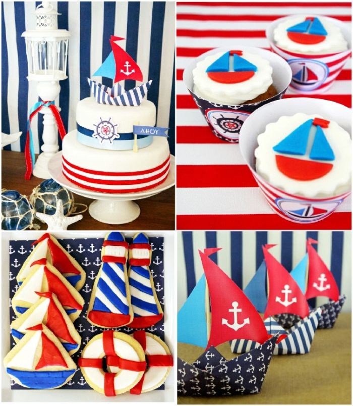 a preppy nautical birthday party deserts table - Nautical Party Decorations