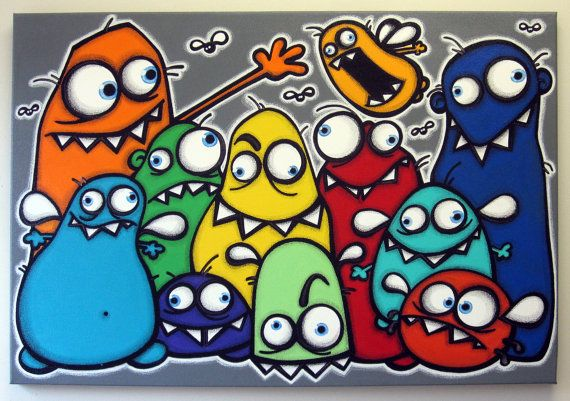 I absolutely love my uglies! It seems they are pretty popular so i created another piece featuring some of my previous uglies and some new family members. Measures 24x36x1/4