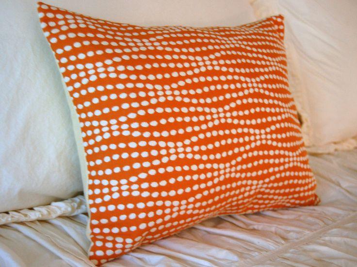 Pumpkin Strands Luxury Cushion / modern lumbar pillow / modern orange pillow / orange and cream bedding / minimalist pillow / luxe pillow by FloradoraInc on Etsy https://www.etsy.com/listing/250687772/pumpkin-strands-luxury-cushion-modern